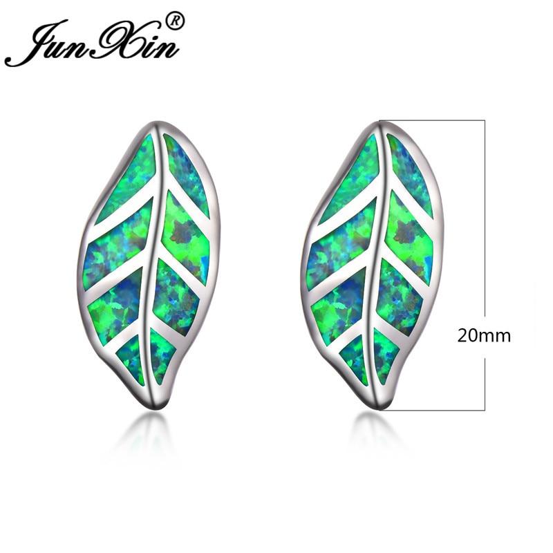 JUNXIN Charm Plant Tree Leaf Stud Earrings For Women Silver Color Green White Blue Fire Opal Earrings Wedding Gift