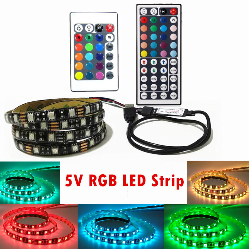 5050 RGB LED Strip Waterproof DC 5V USB LED Light Strips Flexible Tape 50CM 1M 2M 3M 4M 5M With Remote For TV Background Laptop 1m 2m 5m 30cm 4 pin rgb led connector extension cable cord wire with 4pin connector for rgb led strip light free shipping
