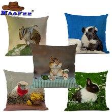 Animal White Rabbit Pattern Cotton Linen Throw Pillow Cushion Cover Seat Car Home Sofa Bed Decorative Pillowcase funda cojin цены