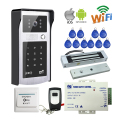 Free Shipping Wireless Wifi Video Door Phone Intercom Metal Doorbell Camera for Phone RFID Keypad Access Electric Magnetic Lock