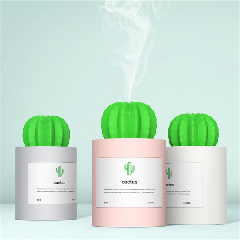 280ML Cactus Ultrasonic Humidifiers Mist Maker Aromatherapy Diffuser Air Humidifier For Household Office 220v 6 2l household electric air purifying humidifiers mute intelligent aromatherapy humidifier mist maker with timer function
