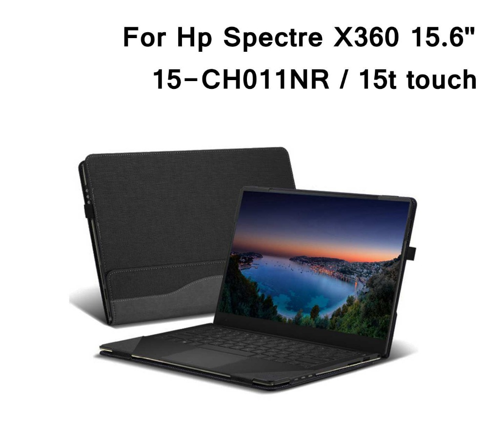 Case For Hp Spectre X360 15.6 PU Leather Folio Stand Hard Cover For Spectre X360 15-CH011NR  /Spectre X360 15t Touch 2 In 1