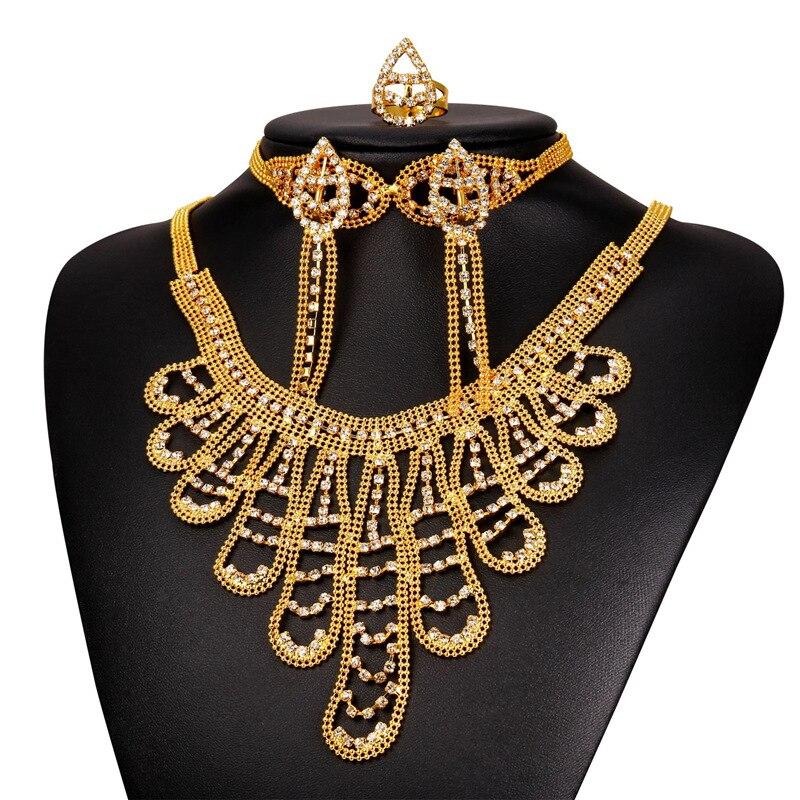 Nouveau or jaune couleur strass collier Bracelet boucles d'oreilles et bague de mariée éthiopienne bijoux ensemble pour les femmes NEHR1911