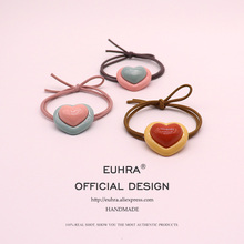 EUHRA 5 Colors Shape Heart Love Assembled Glossy For Women Elastic Hair Bands Kid Children Rubber High Elasticity