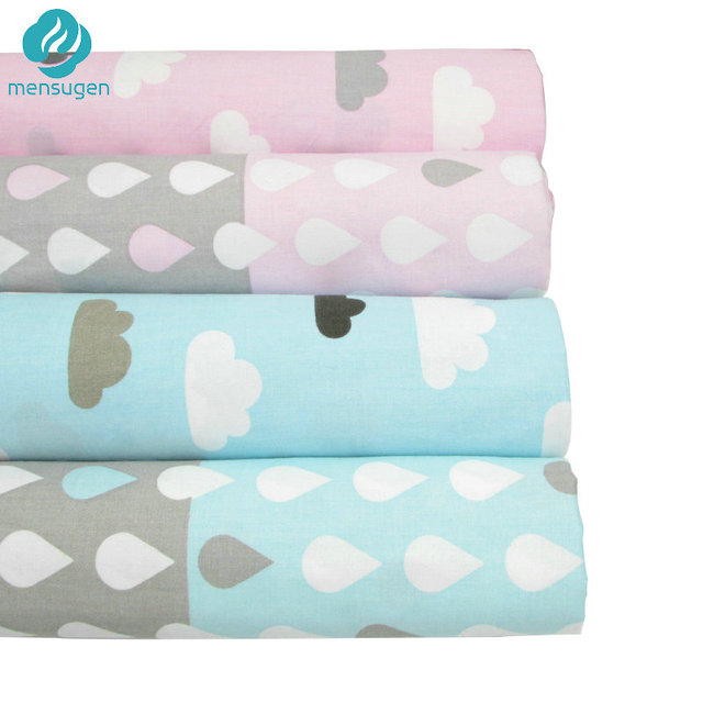 Half Meter Clouds raindrops Cotton Fabric Meter for Home Textile Baby quilts Cushions Sewing Fabric Material Telas to Patchwork