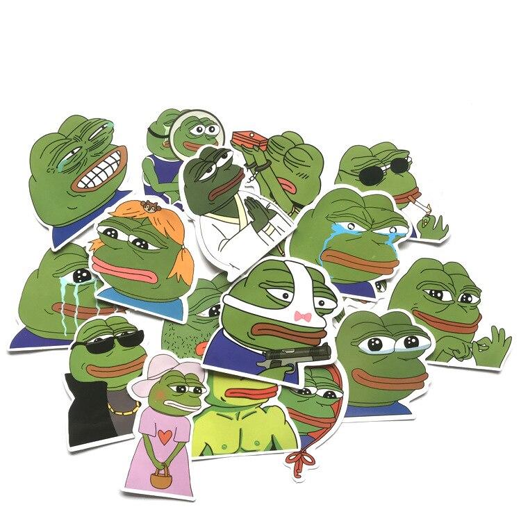 17pcs Sad Frog Meme Kids Cool Paster Fans Funny Decal Scrapbooking Diy Sticker Decoration Phone Laptop Waterproof Cartoon Gifts