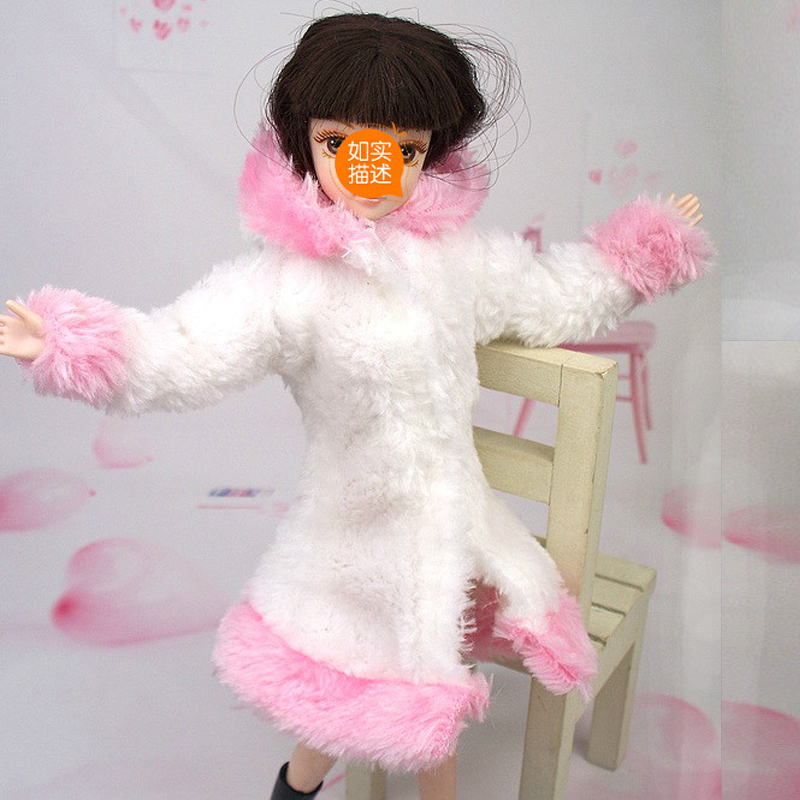 Doll Equipment Winter Put on Heat Coat Garments For Barbie Dolls Fur Doll Clothes For 1/6 BJD Doll Children Toy