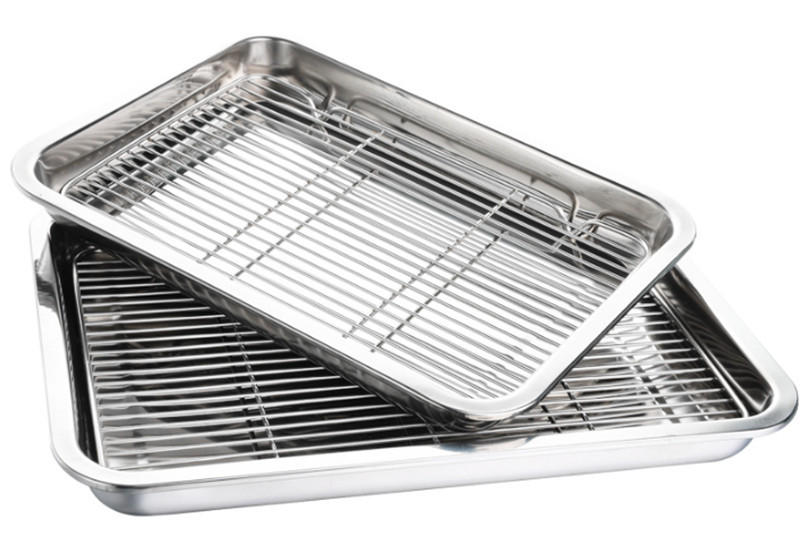 Barbecue Durable Tray Rectangular Stainless Steel Plate Food Fish Dish BBQ Tool