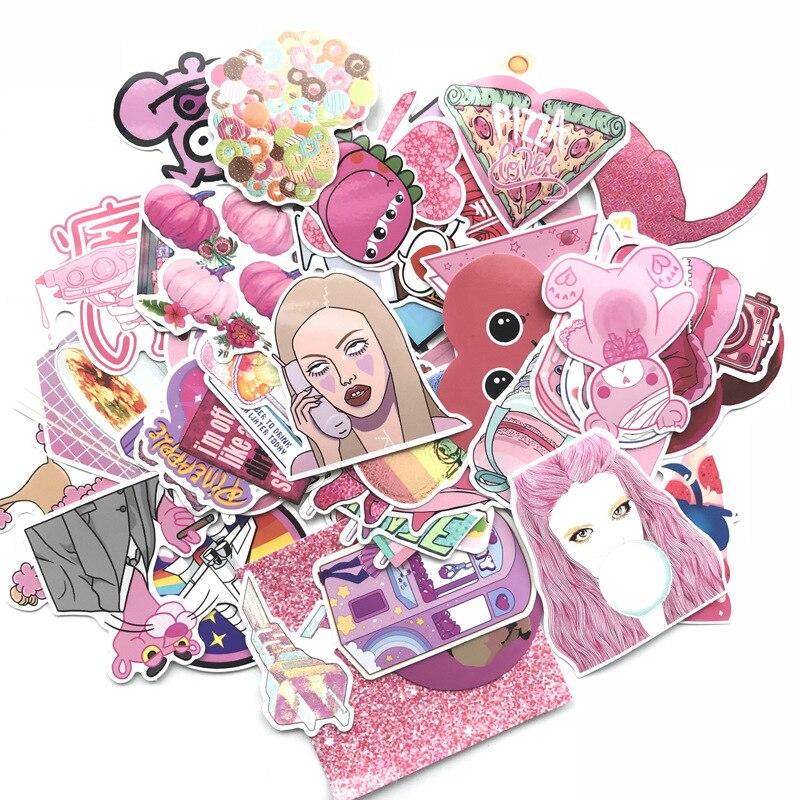 TD ZW 60Pcs Cute Pink Girl Series Stickers Graffiti Punk Waterproof Decal Laptop Motorcycle Luggage Snowboard Car Sticker