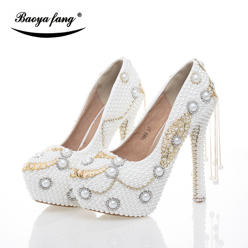 BaoYaFang New arrival White pearl Tessal Womens Wedding shoes High heels platform shoes Real leather insole High Pumps female the new puma womens shoes classic high classic star high tongue series white leather laser badminton shoes