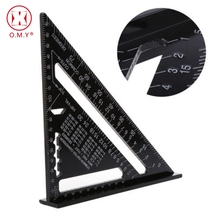 купить Triangular Measuring Ruler Hand Tools Set Metric Aluminum Alloy Metric/Inch Square Roofing Triangle Protractor Tester по цене 489.71 рублей