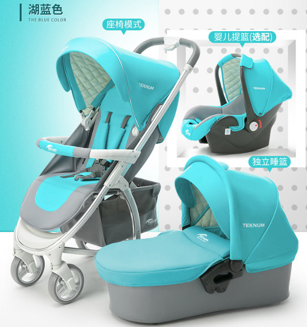 Luxury Baby Stroller 3 In 1 With Car Seat High Landscape Portable