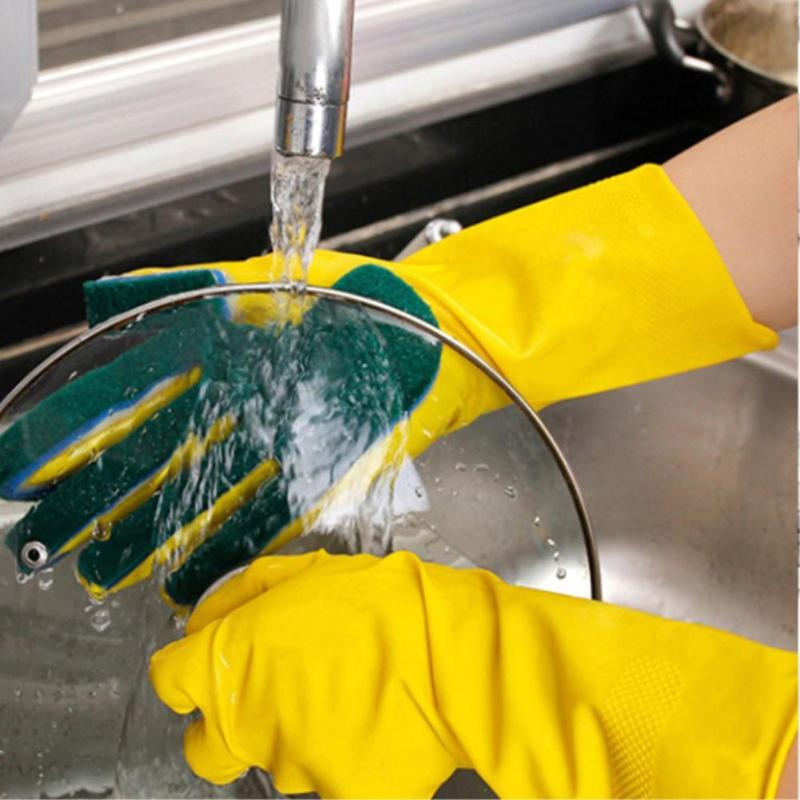 Washing Cleaning Gloves Garden Kitchen Dish Sponge Fingers Rubber Household Cleaning Gloves For Winter Anti Freeze Dishwashing