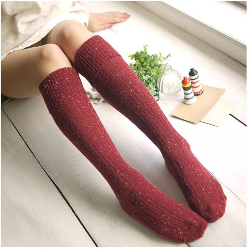 1 Pair Fashion Sexy Women's Warm Knee Socks Autumn Winter High Elastic Knee Socks Glitter Pattern Student Blend Woolen Socks