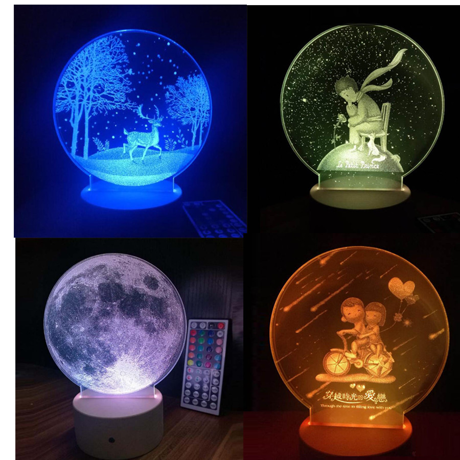 3D Cartoon Little Prince Rose Acrylic LED Night Light With Remote Control Moon Lamp Christmas Dear for Kids Lovers Gifts abajur ночники trousselier светильник ночник в форме куба little prince