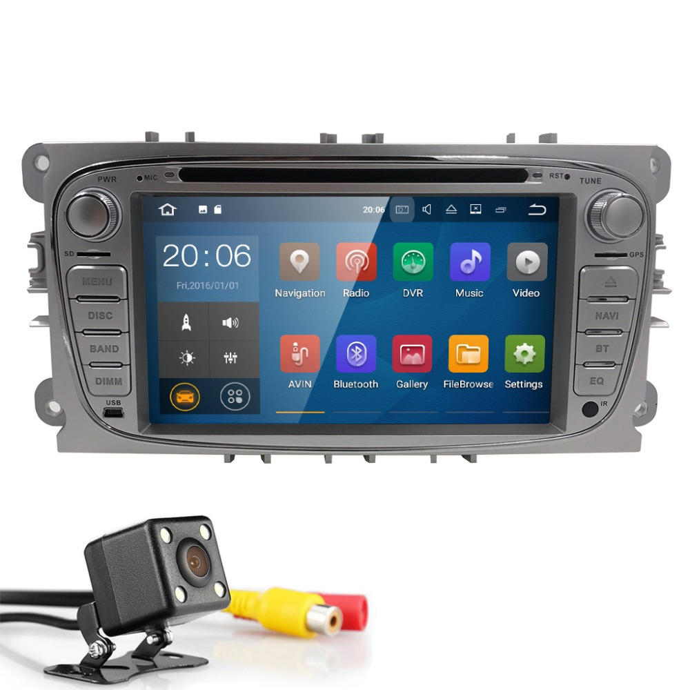 2Din Android 7.1 GPS AutoRadio Car DVD Player For Ford Focus 2 S C Max 2008-2011 Mondeo Fiesta Galaxy Connect Kuga 4G BTSWC Navi