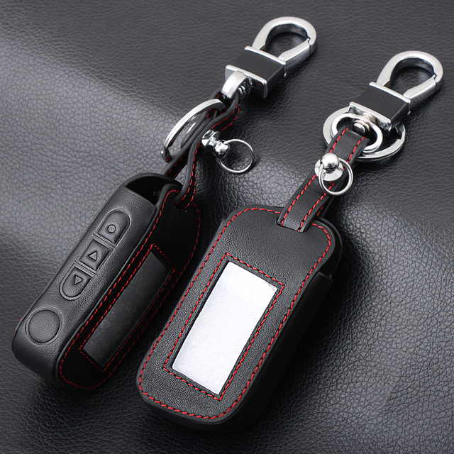 Black Leather A93 Car Key Case Cover for Starline A39 A63 Two Way Car Alarm Remote Controller LCD Transmitter KeyChain