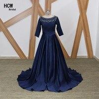 Navy Blue Long Evening Dress 2017 Chic Beaded Satin A Line 3 4 Sleeves Muslim Evening