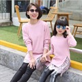 Family Matching Dress Dresses For Girls Mother Daughter Sweater Coat Crochet Spring Autumn Family Fitted  Long Section Sweater