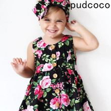 2019 Autumn Long Sleeve Girls Dress Baby Girl Clothes Button Floral Dress Wedding Pageant Formal Dresses Sundress Clothing newborn baby girls floral long sleeve party pageant prom formal dress long sleeves girls cotton dress clothes