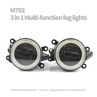 IPHCAR Car Styling Universal LED Fog Lights Lens Projector With Angel Eyes Halo Front Driving Fog
