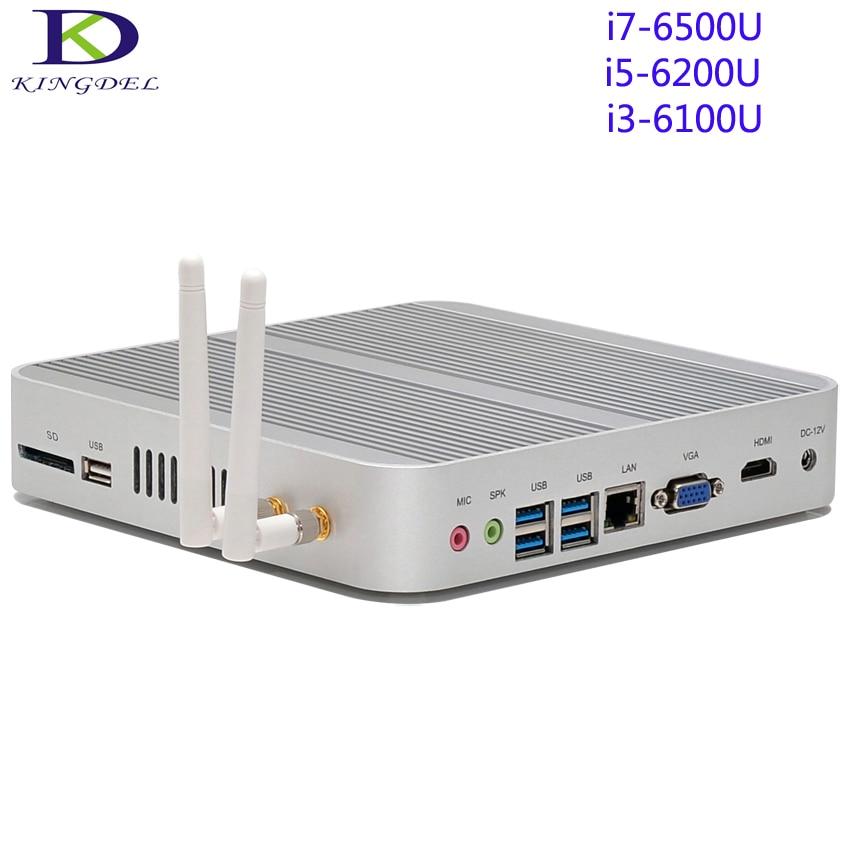 Fanless Mini Desktop PC,Tiny Computer Intel Skylake 6th Gen i7-6500U/i5-6200U/i3-6100,Dual Core,HDMI+VGA+SD Card Port,Wifi,Win10