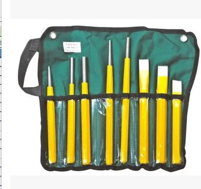 Deli hardware tools 8 sets of rigid  steel center punch punching  cutting positioning punch the lion wrench tool set 8 sets of 12 sets of tools gloves set