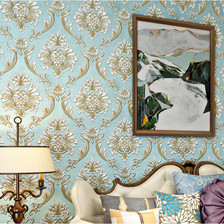European 3d flocking Damask wallpaper Rolls for Bedroom tv background 3d papel de parede 3d wall paper Roll 3d wallcoverings mathey tissot h1886mai