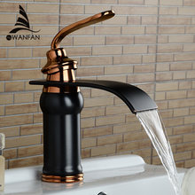 купить Luxury new style bathroom basin sink faucet solid brass oil-rubbed bronze waterfall tap water mixer torneira banheiro LH-16913 дешево