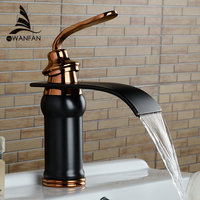 Basin Faucet Solid Brass Oil Rubbed Bronze Waterfall Bathroom Sink Faucet Big Square Spout Mixer Tap Torneira Banheiro WF 9273