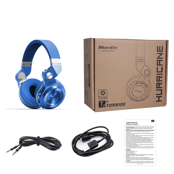 b34112e5579 Bluedio T2+ Bluetooth Headphone Over-Ear Wireless Foldable Headphones with Mic  BT 4.1 FM Radio SD Card Headset