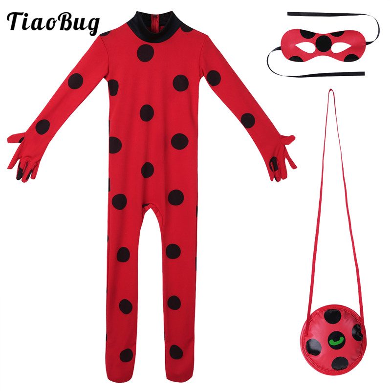 TiaoBug Red Long Sleeve Romper Jumpsuit Mask+Bag+Dress Miraculous Masquerade Cute Kid Girls Cosplay Party Bag Halloween Costume