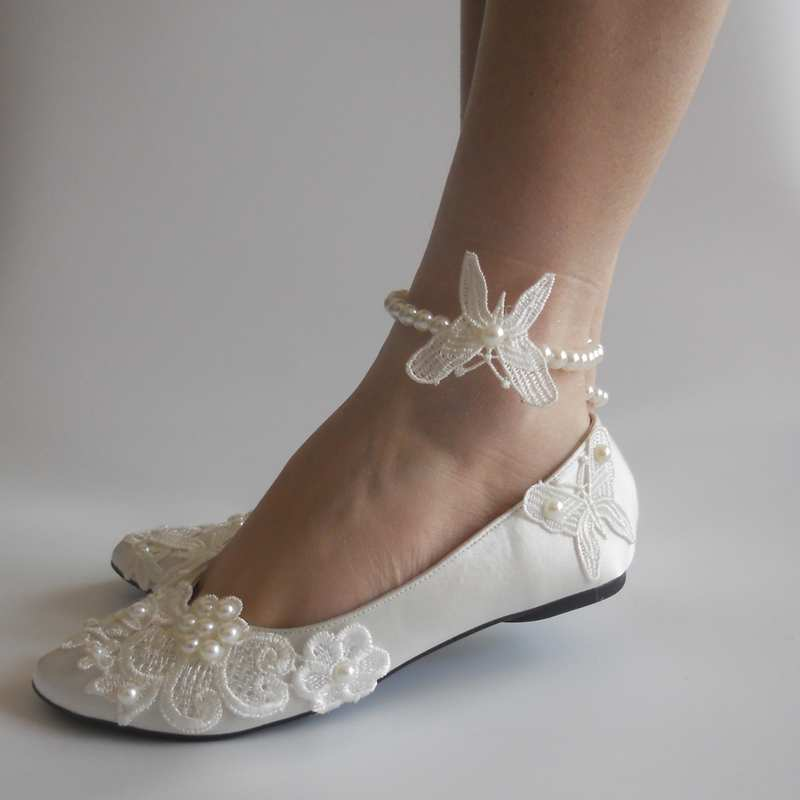 ФОТО New Fashion Ivory Satin Lace Pearls Women Wedding Shoes Butterfly Decoration Shoes Women Dacing Shoes Szie 34-41