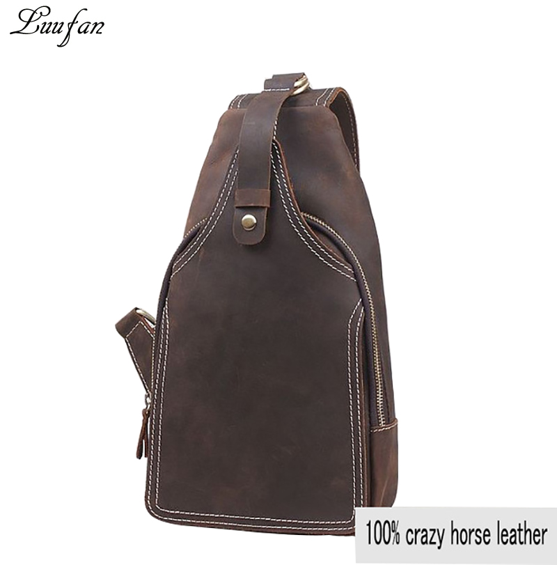 Men s Crazy Horse leather chest Bag Small cowhide Travel bag Vintage COW Leather crossbody Bag