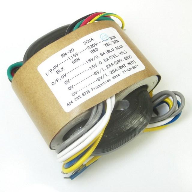 115 V/230 V 30 Watt R typ transformatoren Dual 15 V Dual 6 V ausgang für ES9018 ES9028 ES9028PRO ES9038PRO DAC