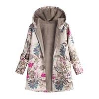 Hot Woman Woolen Coat Fashion Floral Print Hooded Pockets Winter Warm Outwear Jacket For Women Plu Size Ladies Vintage Coats 66