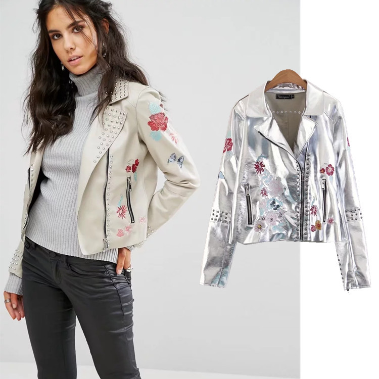 Women fall 2017 metal rivets silver flower embroidery fashion leather jacket coat