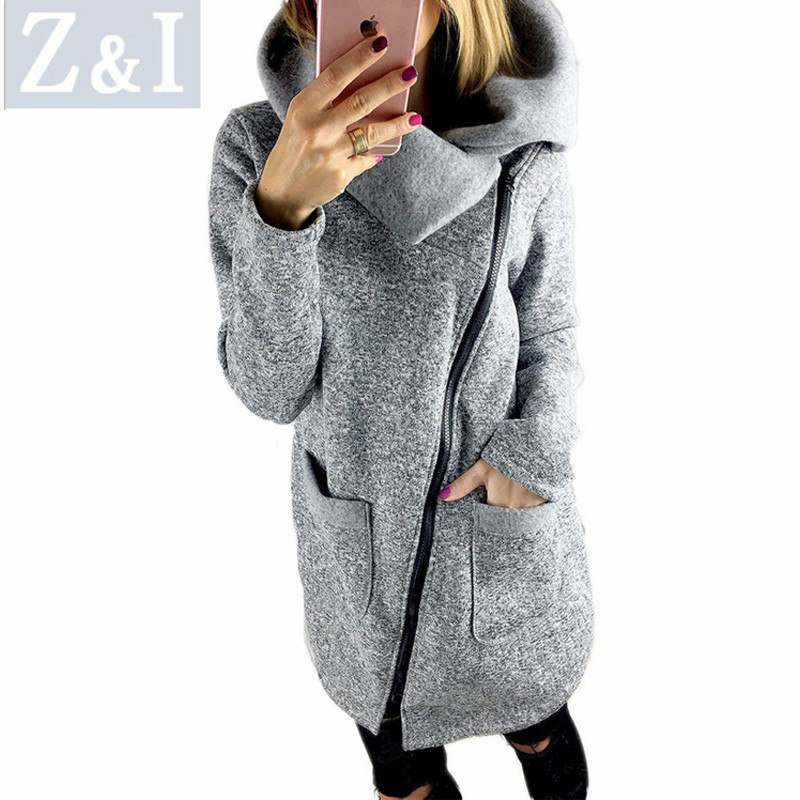 Z&I women coat winter solid jackets femail outwear plus size Autumn cloth