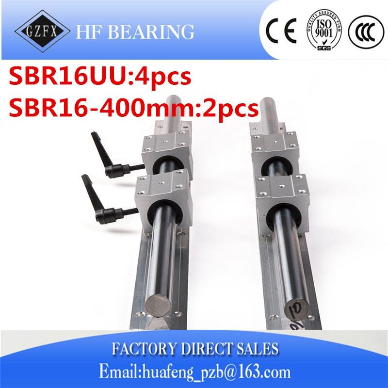 NEW 2pcs SBR16 L400mm Linear Bearing Rails + 4pcs SBR16UU Linear Motion Bearing Blocks (can be cut any length)
