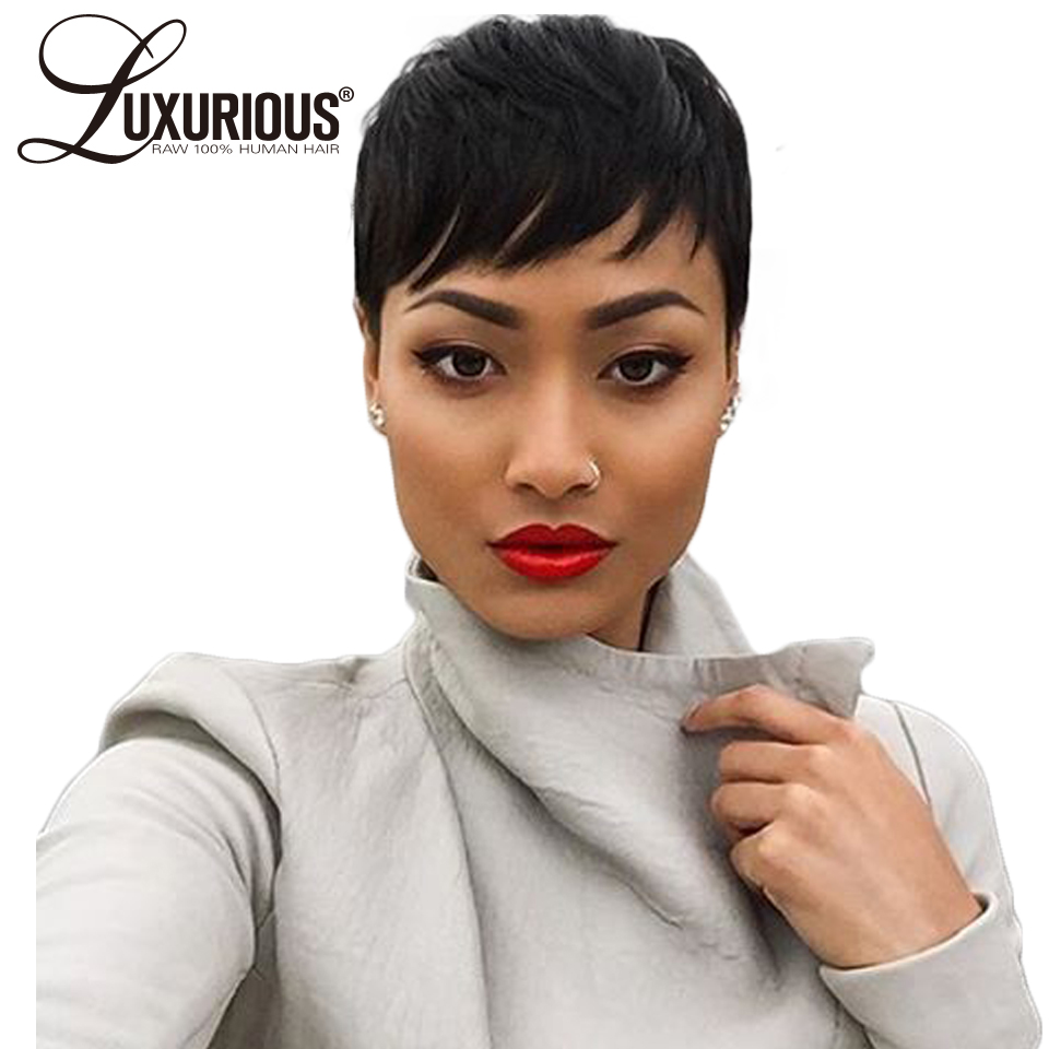 4inch Short None Lace Wigs For Women Straight Brazilian Human Remy Hair Wig With 1B Light
