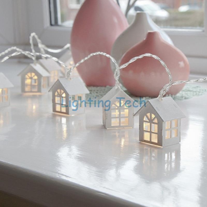 Wooden house lattice led string light indoor lantern - String lights living room ...