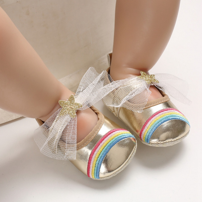 Newborn Baby Girl Flower Sneakers First Walkers Toddler Rainbow Bow Casual Shoes Infant Little Girls Princess Leather Shoe 0-18M