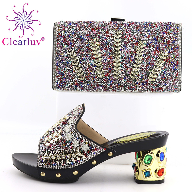 Clearluv Black Matching Italian Shoe and Bag Set Italian Shoes with Matching Bag Nigerian Shoe and Matching Bag