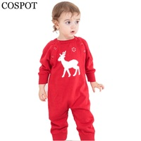 COSPOT Baby Red Reindeer Christmas Romper Cap Newborn Knitted Jumpsuit Baby Girls Boys Winter Autumn New