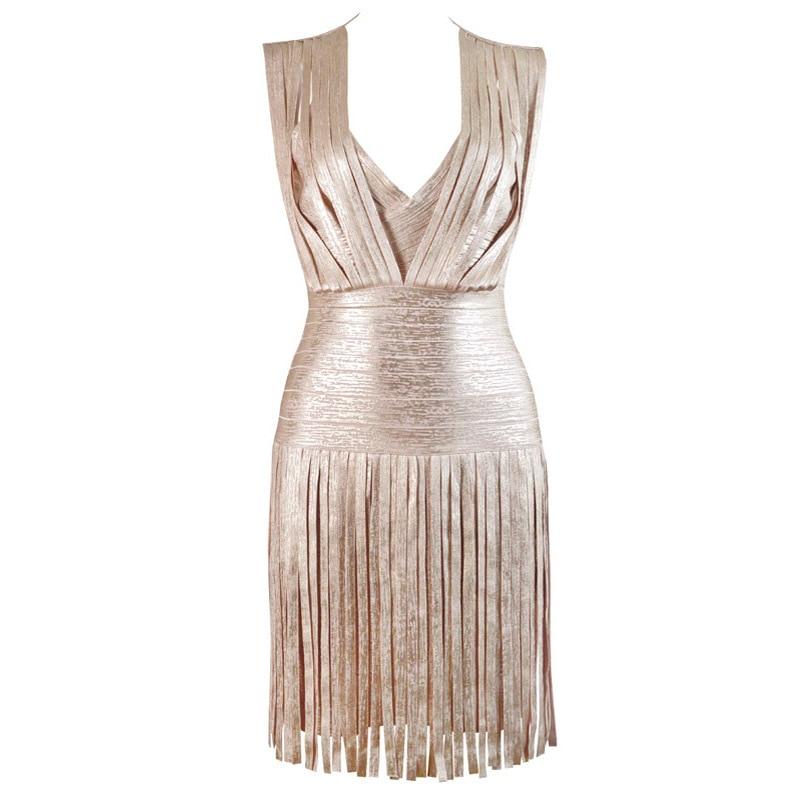 Φορέματα Runway Celebrity Party Tassel Glitter Bandage Dress With Fringe  2018 New V Neck Gold Foil Printing Shine Dress For Women Vestido eb5f2fd24955