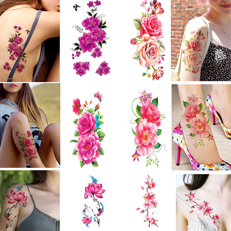 Hot 1PC Wasserdicht Blume Frauen tattoo aufkleber farbe skizze blume pfingstrose rose plum Temporäre aufkleber