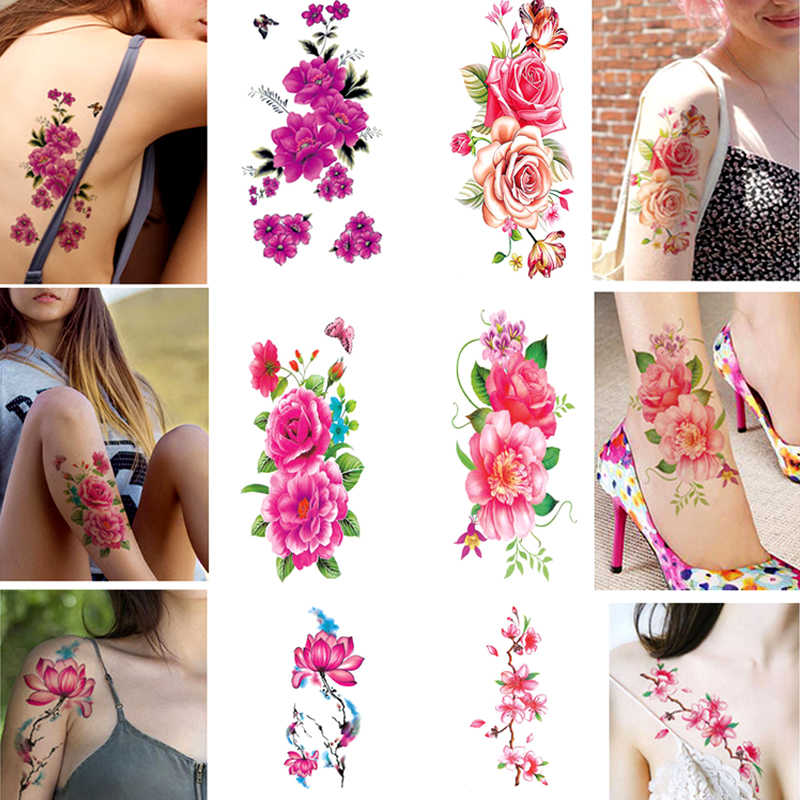 Hot 1PC Waterproof Flower Women tattoo sticker color sketch flower peony rose plum Temporary sticker