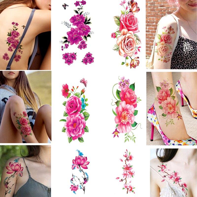 Hot 1PC Waterproof Flower Women Tattoo Sticker Color Sketch Flower Peony Rose Plum Temporary Sticker