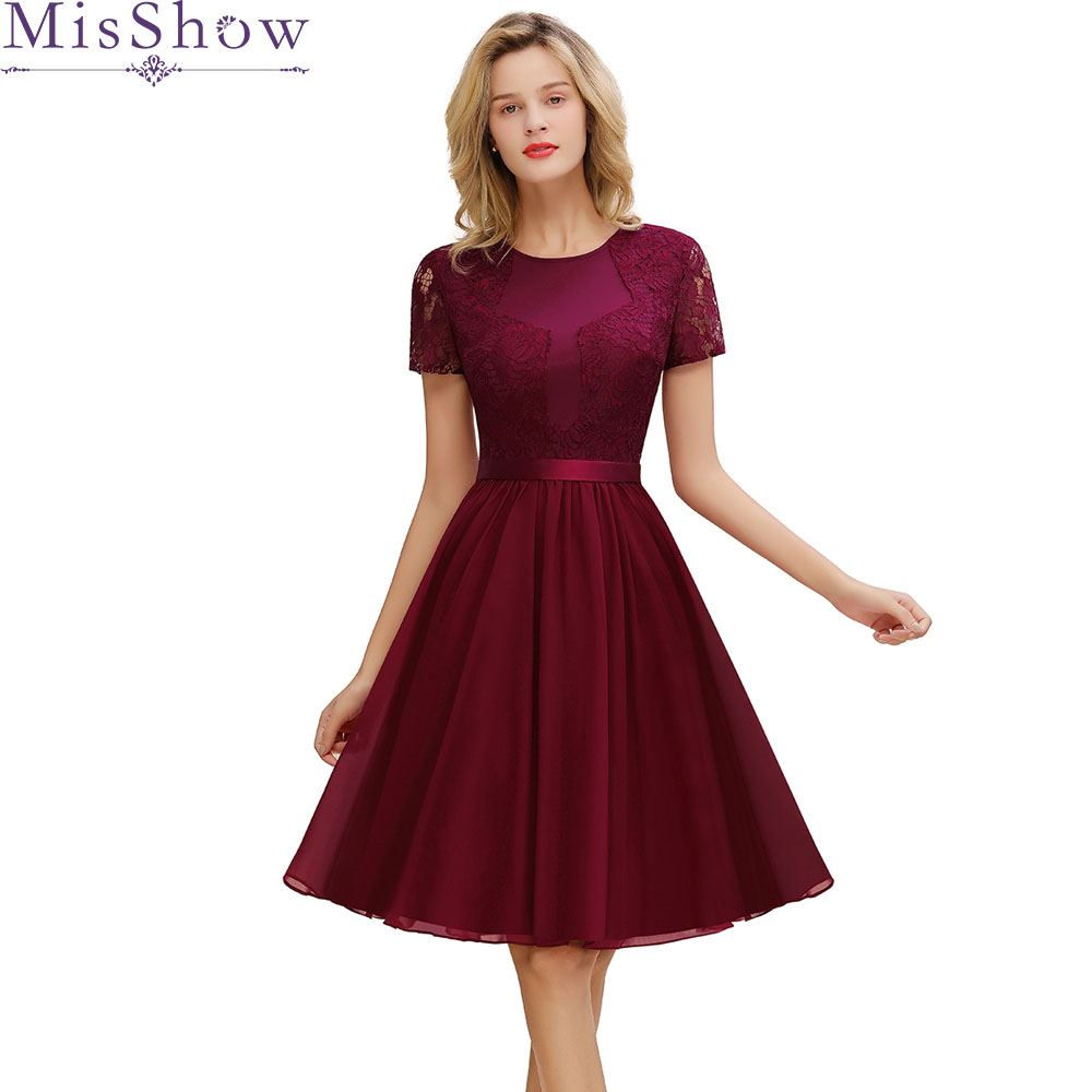 Burgundy Cocktail Dresses Elegant Formal Party Dress A-Line Lace Women 2019 Short Vestidos Sexy Women Belted Homecoming Dresses
