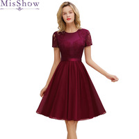 Burgundy Cocktail Dresses elegant formal party dress A Line lace Women 2019 Short Vestidos Sexy Women Belted Homecoming Dresses